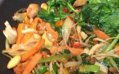 Spicy Papaya Salad and Almond & crispy chop suey wrap filling…